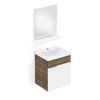 Gabinete para Banheiro MDF Suspenso 41x34cm 1 Porta com Cuba e Espelho Like Branco e Wengue - Ref.B60001M210 - CELITE