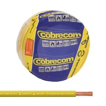 Cabo Flexível 2,5mm 50m 750v Amarelo - Ref.1150501401-50M - COBRECOM