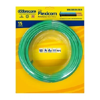 Cabo Flexível 10mm 15m 750v Verde - Ref.1150805401-15M - COBRECOM
