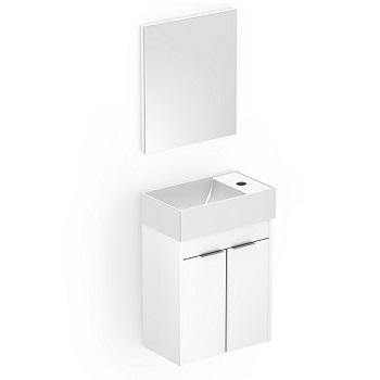 Gabinete para Banheiro em MDF Suspenso 40x22cm 2 Portas com Cuba e Espelho Saveiro Branco - Ref.B60000M260 - CELITE
