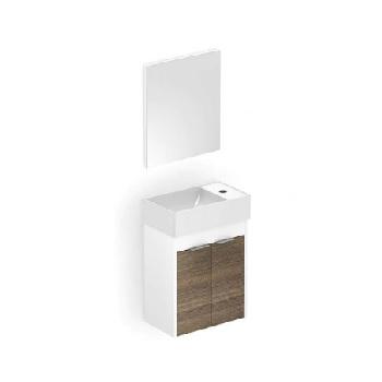 Gabinete para Banheiro em MDF Suspenso 40x22cm 2 Portas com Cuba e Espelho Saveiro Branco e Wengue - Ref. B60001M260 - CELITE