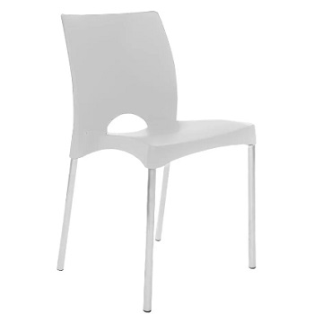 Cadeira Poltrona Plástica com Pés de Alumínio Boston Branco - Ref. F860000 - GARDENLIFE