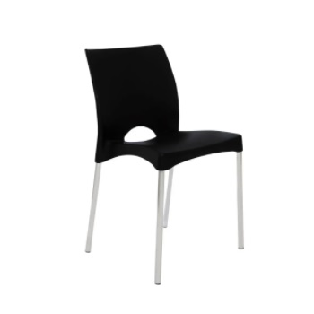Cadeira de Plástico e Alumínio Boston Preto - Ref. F860001 - GARDENLIFE