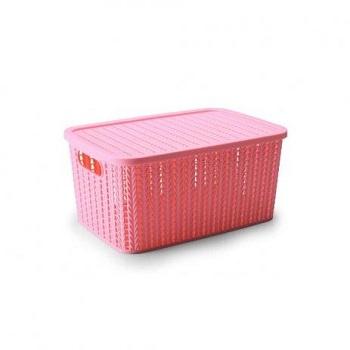 Caixa Plástica 8 Litros com Tampa e Pegador Trama Rosa - Ref. 000236 - PLASUTIL