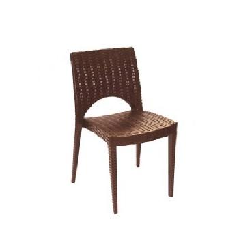 Cadeira em Polipropileno Casabella Rattan Marrom - Ref.006071 - PLASÚTIL