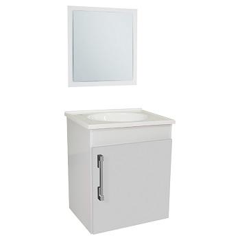 Gabinete Para Banheiro em MDF Suspenso 42x48cm 1 Porta com Cuba e Espelho Fit Branco - Ref.23278-BR - SICMOL