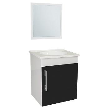 Gabinete para Banheiro Fit MDF Suspenso 42x48cm 1 Porta com Cuba e Espelho Branco/Ipê - Ref.23278-BR/PT - SICMOL