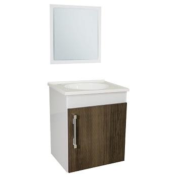 Gabinete para Banheiro Fit MDF Suspenso 42x48cm 1 Porta com Cuba e Espelho Branco/Ipê - Ref.23278-BR/IPE - SICMOL
