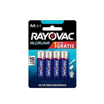 Pilha Alcalina AA com 4 Unidades Leve 4 Pague 3 - Ref.208013 - RAYOVAC