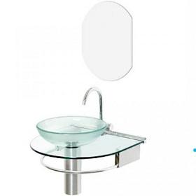Lavabo Vidro/Alumínio 50x45,5 Jade+Espelho/Cuba 976 -  Ref.00000000976-8 - CRIS-METAL