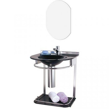 Lavabo Vidro e Aluminio 50x46 Cris Mold Com Espelho Preto - Ref. 00000000972-5 - CRISMETAL