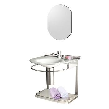 Lavabo de Vidro e Alumínio 50x46 com Espelho Cris-Mold Branco - Ref.979 - CRISMETAL