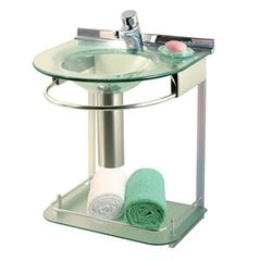 Lavabo de Vidro e Alumínio 50x46 com Espelho Cris-Mold Incolor - Ref.993 - CRISMETAL
