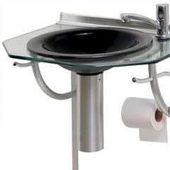 Lavabo de Vidro e Alumínio 55x42 com Espelho Cris-Glass Onix 943 - Ref.00000000943-1 - CRISMETAL