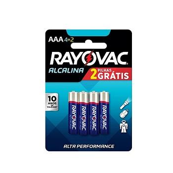 PILHA Alcalina AAA com 6 Unidadaes Leve 6 Pague 4 - Ref.20917 - RAYOVAC