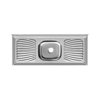 Balcão Inox 100x53x11 com 1 Cuba Retangular/Escorredor 430 - Ref.PIM1053C11044 - FORMINOX