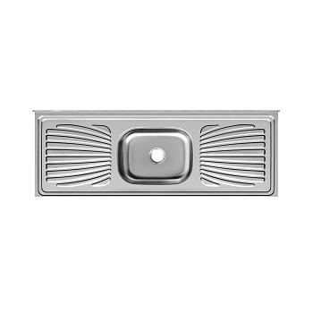 Balcão Inox 150x53x11 com 1 Cuba Retangular/Escorredor 430 - Ref.PIM1553C11044 - FORMINOX