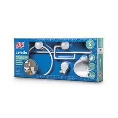 Kit Acessórios Banheiro ABS 5 Peças Lavello Branco - Ref. 4090 - HERC