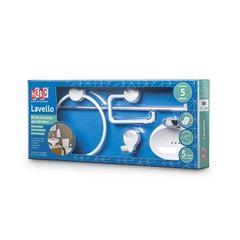 Kit Acessórios Banheiro Abs 5 Peças Lavello Branco/Cromado - Ref. 4091 - HERC
