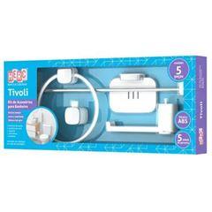 Kit Acessórios para Banheiro ABS 5 Pecas Tivoli Branco e Cromado - Ref. 5041 - HERC