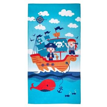 Toalha de Praia em Algodão 70x140cm Infantil Pirata Azul - Ref.SAPRIEPRB1PIRATA - SANTISTA