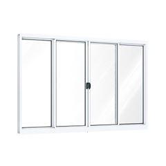 Janela de Alumínio 4 Folhas Vidro Liso 100x150cm Branco - Ref.A381.0 - RIOBRAS