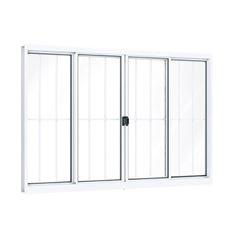 Janela de Alumínio com Grade 4 Folhas Vidro Liso 100x120cm Branco - Ref.A383.0 - RIOBRAS