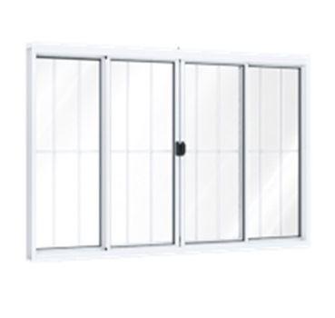 Janela Alumínio 4 Folhas 2 Fixas com grade Vidro Liso 150Lx100A Branca - Ref.A384.0 - RIOBRAS