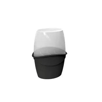 Porta Talher de Plástico com Tampa Preto Solido - Ref.UZ330-PR - UZ