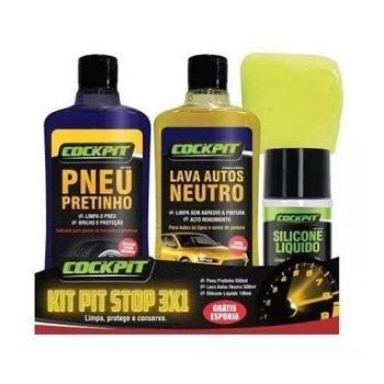 Kit Pit Stop 3x1 Shampoo Pneu Pretinho e Silicone - Ref. 10752 - COCKPIT