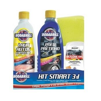 Kit Pit Stop 3x1 Shampoo Pneu Pretinho e Silicone - Ref. 13753 - RODABRIL