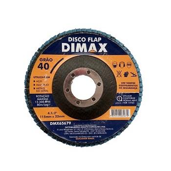 Disco de Lixa Flap para Metal 4.1/2 Pol. com Grão 40 - Ref. DMX65679 - DIMAX