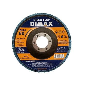 Disco de Lixa Flap para Metal 4.1/2 Pol. com Grão 60 - Ref. DMX65686 - DIMAX