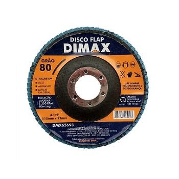 Disco de Lixa Flap para Metal 4.1/2 Pol. com Grão 80 - Ref. DMX65693 - DIMAX