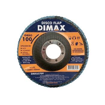 Disco de Lixa Flap para Metal 4.1/2 Pol. com Grão 100 - Ref. DMX65709 - DIMAX