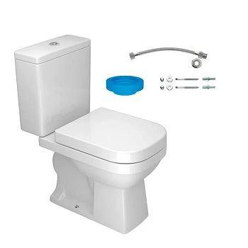 Kit Bacia com Caixa Acoplada 3 e 6 Litros Assento e Instalações Quadra Branco - Ref. KP.210.17 - DECA