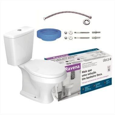 Kit Bacia Caixa 3 e 6 Litros Assento + Kit de Acessórios de Instalação Ravena Branco - Ref. KP.909.17 - DECA