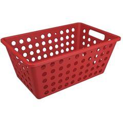 Cesta Plástica 19x15cm One Pequena Vermelho Gray - Ref.10808/0126 - COZA