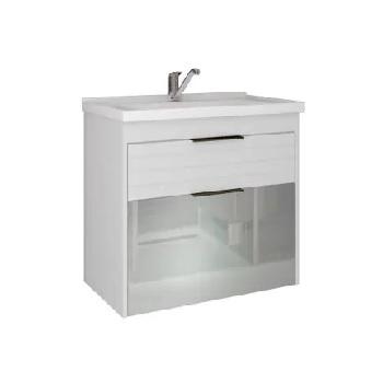 Gabinete para Banheiro Azaleia MDF Suspenso 56x59cm com 1 Porta 1 Gaveta e Cuba Branco - Ref.9927.34 - MGM