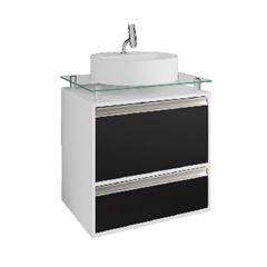 Gabinete para Banheiro MDF Suspenso 66x60cm com Cuba 1 Porta 1 Gaveta Aveiro Branco/Preto - Ref.9937.10 - MGM