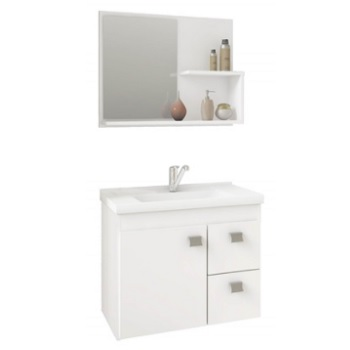 Gabinete para Banheiro em MDF Suspenso 46x55 com Espelho Hortência Branco - Ref. 9943.2 - MGM