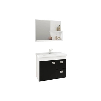 Gabinete para Banheiro em MDF Suspenso 46x55 com Espelho Hortência Branco e Preto - Ref. 9943.10 - MGM