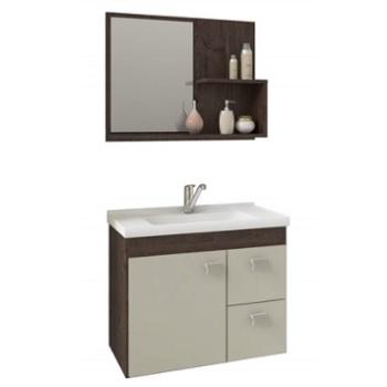 Gabinete para Banheiro em MDF Suspenso 46x55 com Espelho Hortência Café White - Ref. 9943.31 - MGM