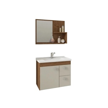 Gabinete para Banheiro em MDF Suspenso 46x55 com Espelho Hortência Amêndoa White - Ref. 9943.34 - MGM