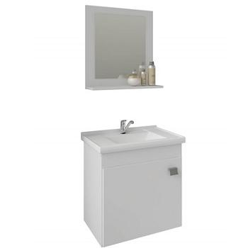 Gabinete para Banheiro em MDF Suspenso 46x44cm 1 Porta com Cuba e Espelho Íris Branco - Ref.9944.2 - MGM