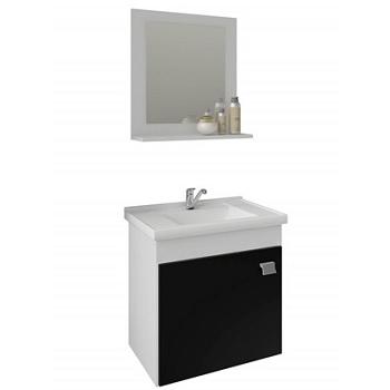 Gabinete para Banheiro MDF Suspenso 46x44cm 1 Porta com Cuba e Espelho Íris Branco e Preto - Ref.9944.10 - MGM