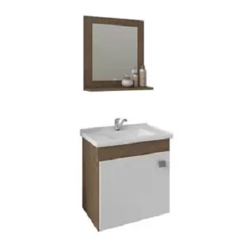 Gabinete para Banheiro em MDF Suspenso 46x44cm 1 Porta com Cuba e Espelho Iris Amêndoa e Branco - Ref.9944.33 - MGM