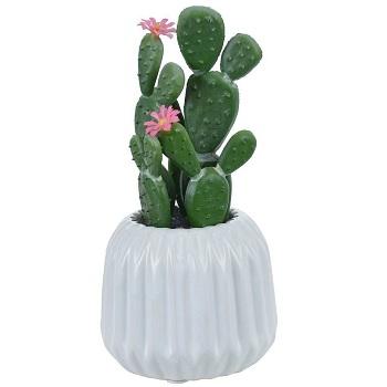 Flor Cacto Vaso 17x8,5cm Rosa - Ref.36399002 - FLOR ARTE