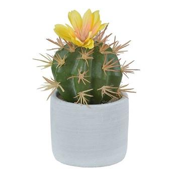 Flor Cacto Vaso 14x7cm Amarelo - Ref.36397002 - FLOR ARTE