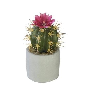 Flor Cacto Vaso 14x7cm Rosa - Ref.36397001 - FLOR ARTE